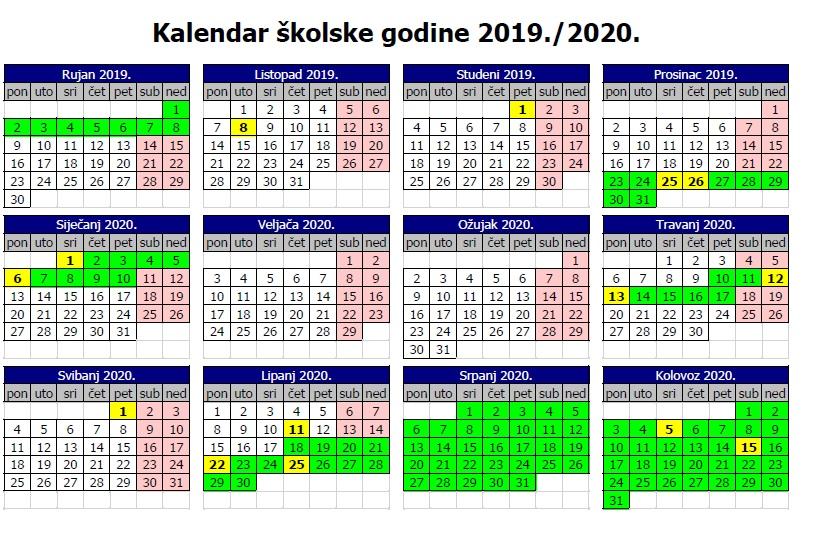 kalendar rada 2019./2020.