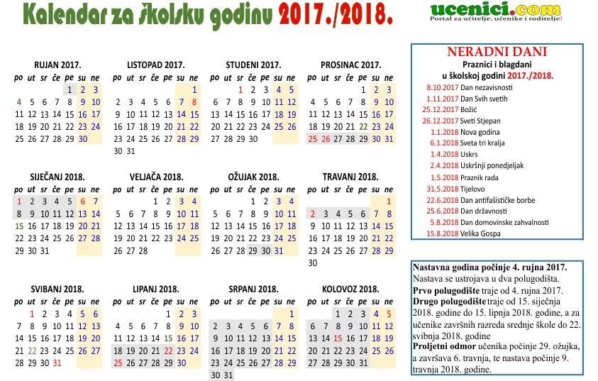 kalendar rada 2017./2018.