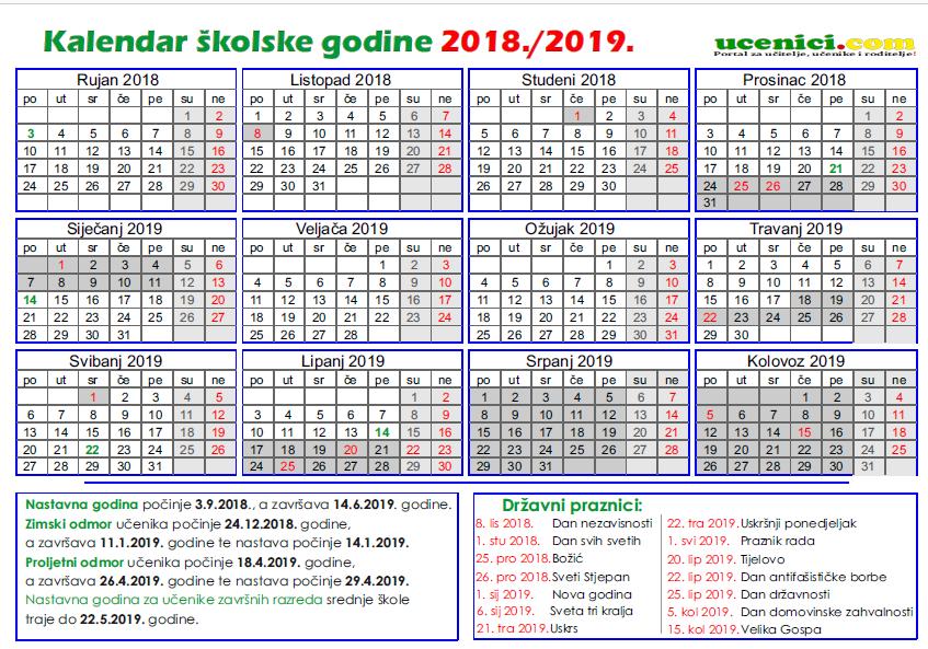 kalendar rada 2018./2019.