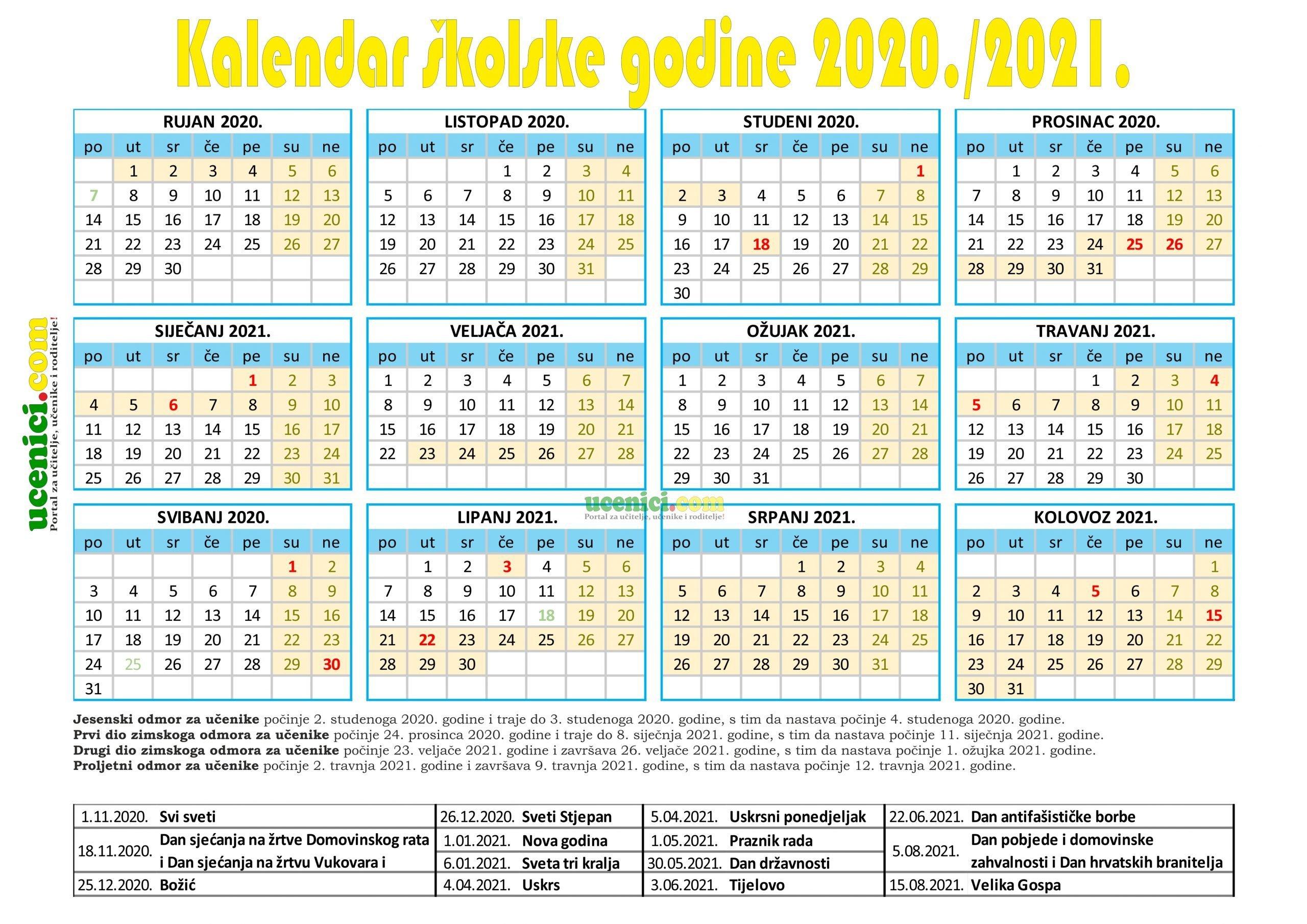 kalendar rada 2020./2021.